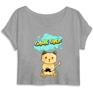 T-shirt femme crop top original chat manga game over gris