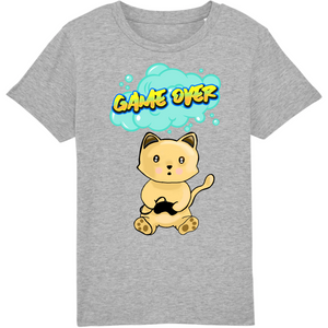 T-shirt enfant original chat manga game over gris