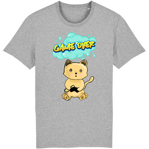 T-shirt homme original chat manga game over gris