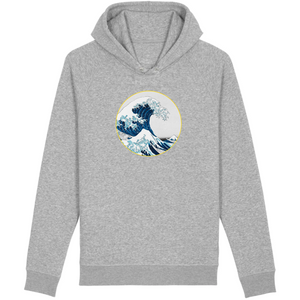Sweatshirt bio homme surf la vague gris