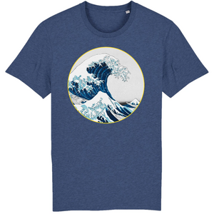tee shirt homme bio vague  bleu indigo