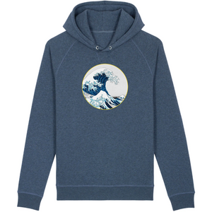 Sweatshirt bio homme surf la vague bleu