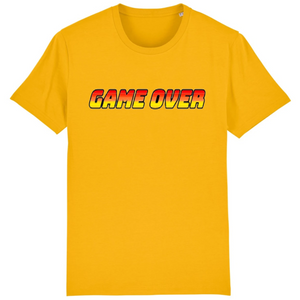 T-shirt homme coton bio game over jaune