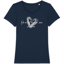 Charger l'image dans la galerie, tee-shirt-bio-message-coton-citation-femme-bleu-marine