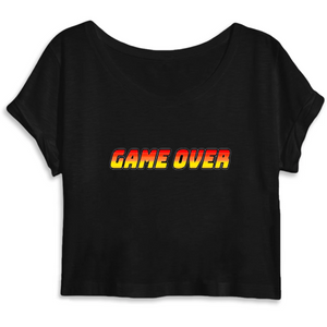 T-shirt femme crop top coton bio game over noir