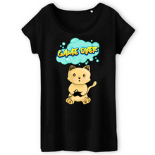 Charger l'image dans la galerie, T-shirt femme original chat manga game over noir