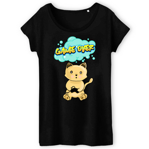 T-shirt femme original chat manga game over noir