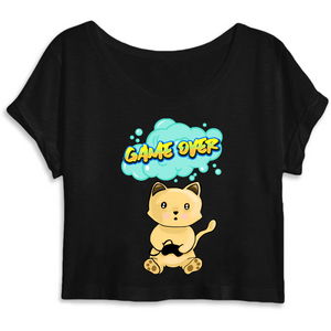 T-shirt femme crop top original chat manga game over noir