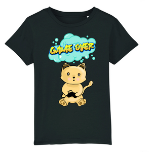 T-shirt enfant original chat manga game over noir