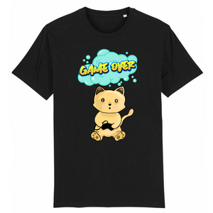 T-shirt homme original chat manga game over noir