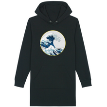 Charger l'image dans la galerie, Robe sweat-shirt vague bio noir