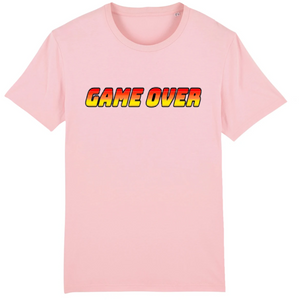 T-shirt homme coton bio game over rose