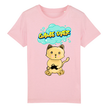 Charger l'image dans la galerie, T-shirt enfant original chat manga game over rose