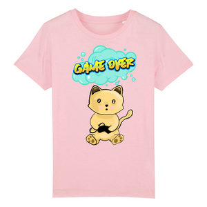 T-shirt enfant original chat manga game over rose