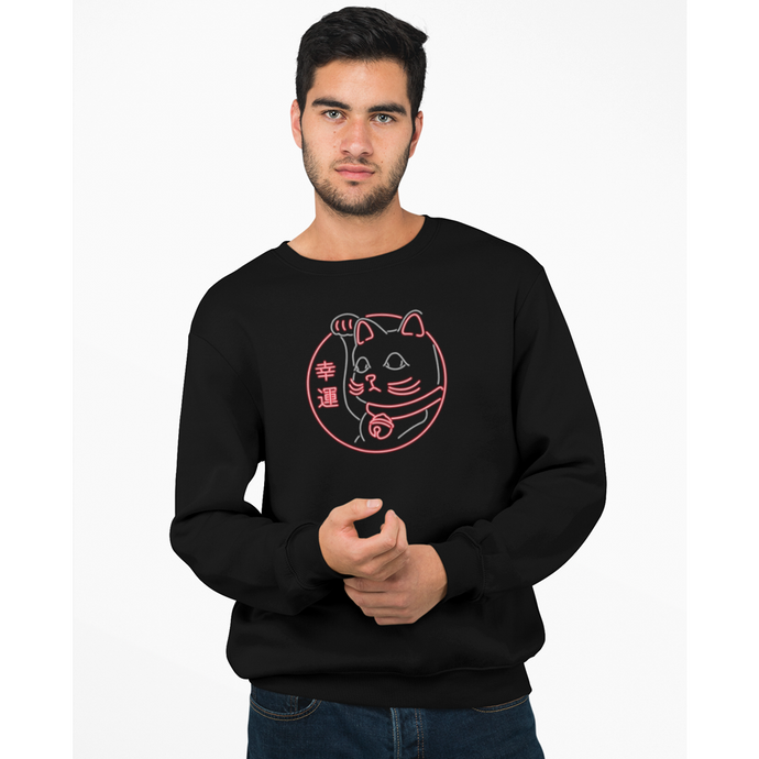 sweat-shirt-bio-manga-maneki-neko-chat-chanceux