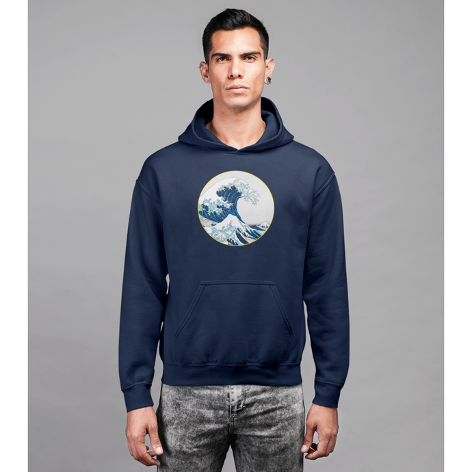 sweat shirt vague surf hokusai bio éthique homme à capuche