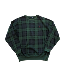 Load image into Gallery viewer, Black Watch Plaid Polo Crewneck