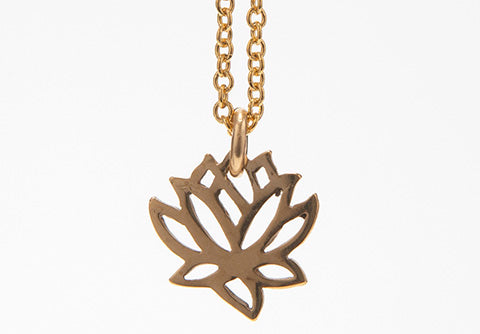 Tiny Gold Vermeil Lotus Necklace