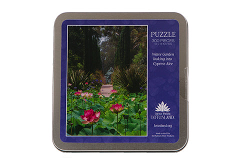 300 piece puzzle featuring Lotusland's Water Garden