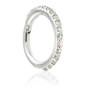 14ct White Gold Diamond Pavé Eternity Hinge Ring - 1.2x8mm - Artmageddon Piercing Studio
