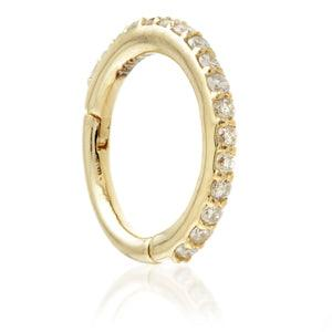 14ct Yellow Gold Diamond Pavé Eternity Hinge Ring - 1.2x8mm - Artmageddon Piercing Studio