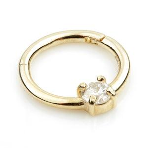 14ct Yellow Gold 3mm Diamond Claw Set Hinge Ring - Artmageddon Piercing Studio