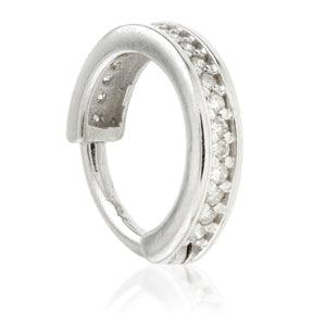 14ct White Gold Diamond Channel Hinge Ring - 1.2x8mm - Artmageddon Piercing Studio