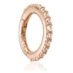 9ct Rose Gold Pavé Gem Eternity Hinge Ring - 1.2mm - Artmageddon Piercing Studio