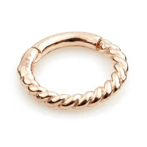 9ct Rose Gold Rope Hinge Ring - Artmageddon Piercing Studio