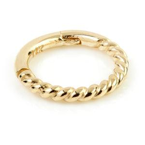 9ct Yellow Gold Rope Hinge Ring - Artmageddon Piercing Studio