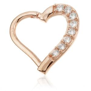 14ct Rose Gold Gem Hinge Heart Ring - Left Side - Artmageddon Piercing Studio