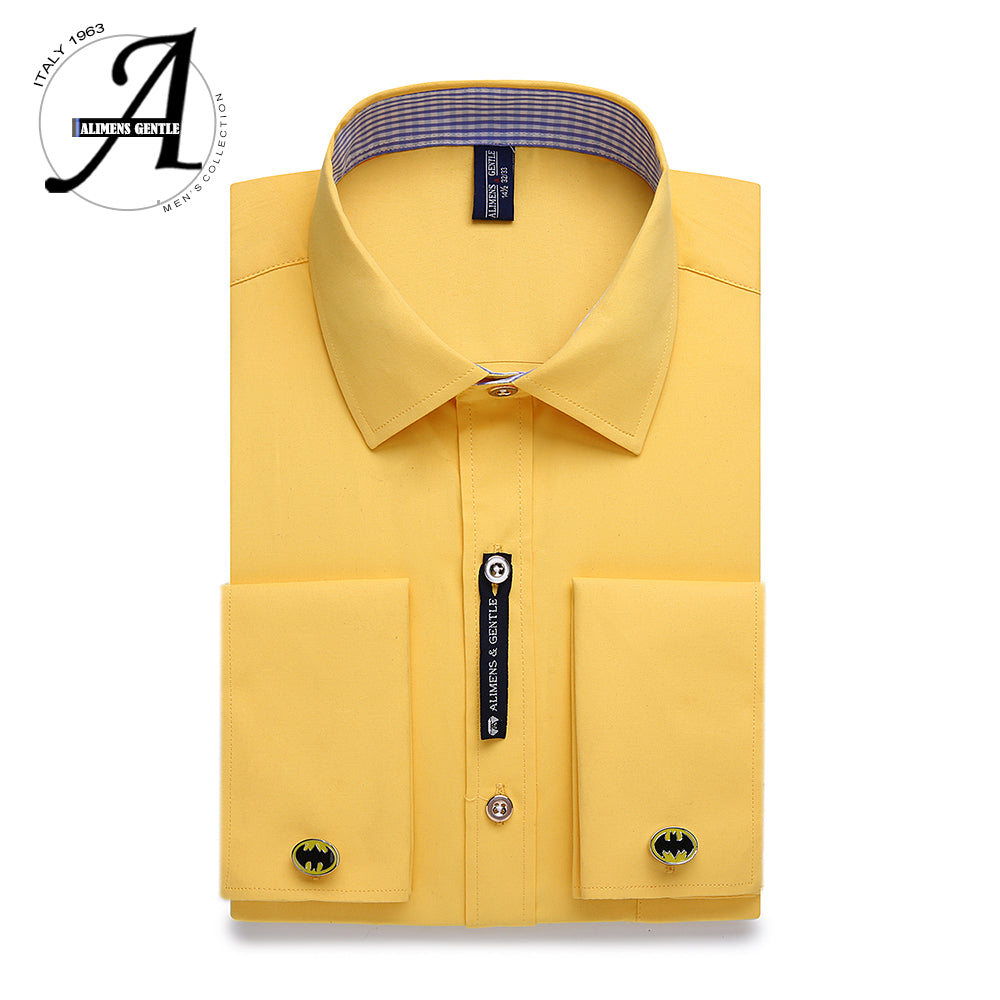 Mens French Cuff Dress Shirt Men Long Sleeve Solid Color Striped Style Cufflink Include 2019 Fashion New