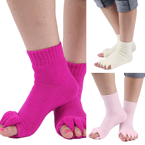 1 Pair Yoga GYM Massage Five Toe Separator Socks Foot Alignment Pain Relief
