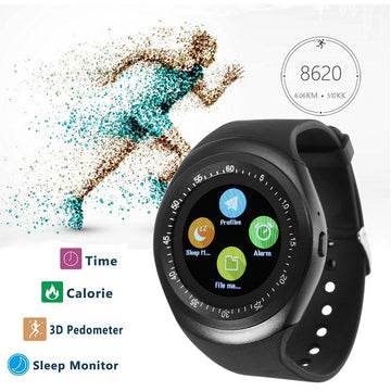 Bluetooth Sports Round Smart Watch Pedometer Health Monitor for iOS Android