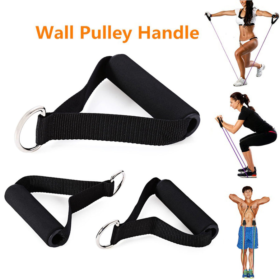 Yoga Pilates Pull Rope Nylon Bands Foam Handle Gym Puller Resistance Exercise