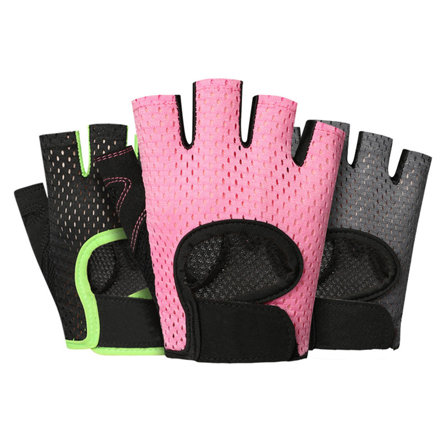Men Women Sports Gym Fitness Workout Weightlifting Half Finger Anti-skid Gloves