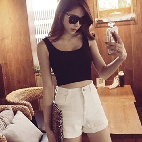 Women's Short Sport Crop Top Summer Sleeveless U Croptops Gym Tank Tops Vest