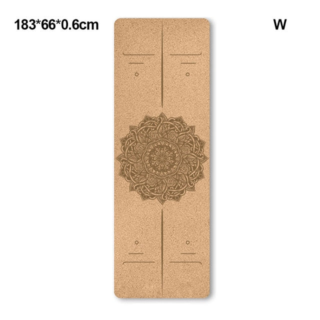 1830*660*6mm Natural Cork TPE Yoga Mat With Position Line Non-slip Fitness Sports Exercise Mats Pilates Pads Gymnastics Carpets