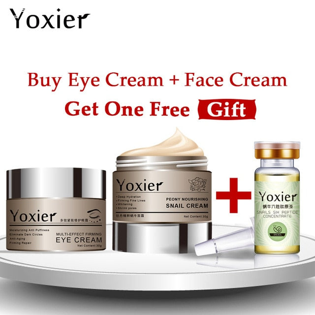 Yoxier Snail Eye Cream Face Cream Anti-aging Remove Eye Bag Lifting Firming Fine Lines  Facial Skin Care  Buy 2 Get 1 Free Gift