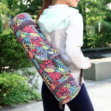 Casual Gym Portable Leaves Print Shoulder Pilates Adjustable Strap Case Yoga Mat Bag Carrier Practical Fitness Exercise