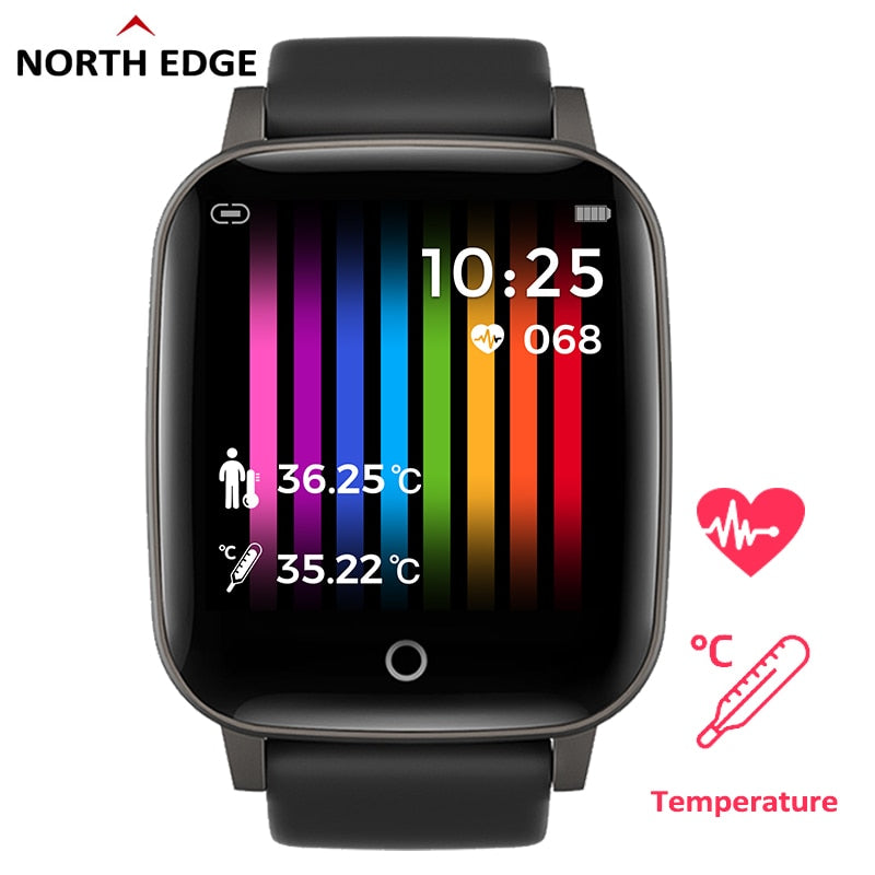 NORTH EDGE Men's Smart Watch Body Temperature 24H Measurement Health Watch Heart Rate Smartwatch Fitness Tracker For Android IOS