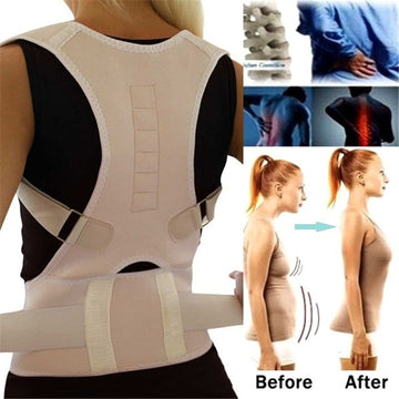Adjustable Magnetic Posture Back Support Corrector Belt Band Belt Brace Shoulder Lumbar Strap Pain Relief Posture Waist Trimmer