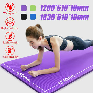 10MM NBR Non-slip Yoga Mats For Fitness Tasteless 4Color 2 Size Gym Exercise Sport Mats Pads with Yoga Bag Yoga Strap