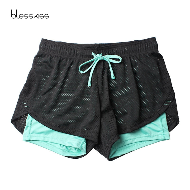 Blesskiss Yoga Shorts Women Fitness Top Spandex Neon Elastic Lulu Running Workout Short Leggings For Ladies Gym Sport Shorts