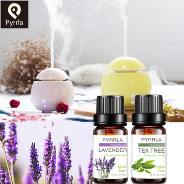 Pyrrla 10ML Pure Essential Oil Massage Humidifier Tea Tree Orange Rose Peppermint Eucalyptus Lemongrass Lavender Ginger Aroma