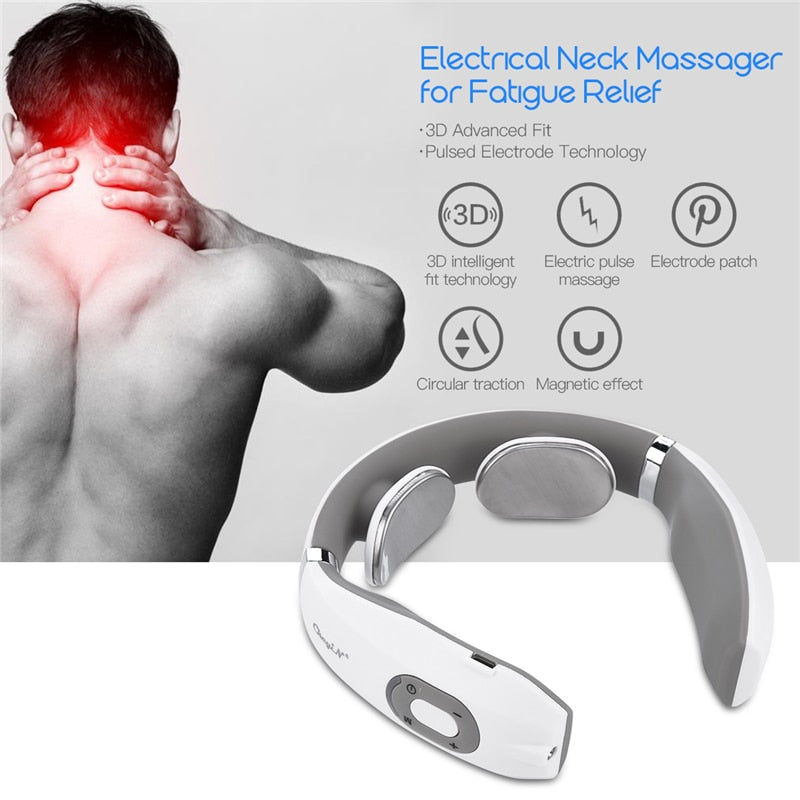 Electric Pulse Neck Massager Cervical Traction Collar Therapy Pain Relief Stimulator Guasha Acupuncture Cupping Patting Massage