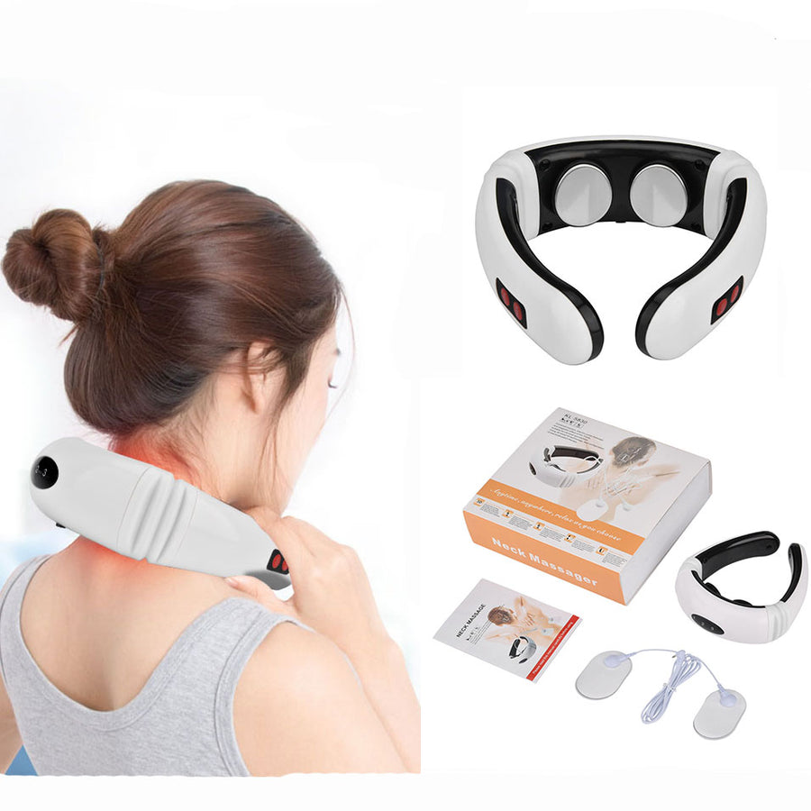 Electric Neck Massager Pulse Back 6 Modes Power Control Far Infrared Heating Pain Relief Cervical Physiotherapy Massager