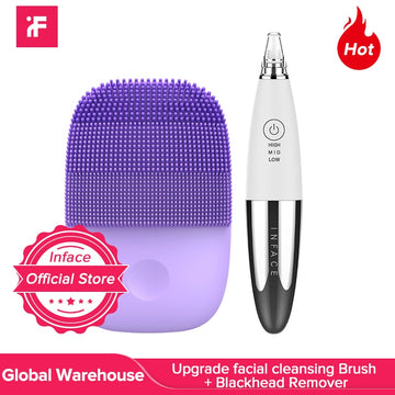 Inface Upgrade Version Facial Cleansing Brush & Vacuum Blackhead Remover Skin Care Pore Acne Pimple Removal