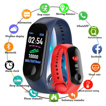 2020 M3 Fitness Bracelet Smart Watch Band Trcker Sport Pedometer Heart Rate Blood Pressure Bluetooth Health Wirstband Waterproof