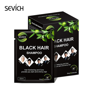 Sevich 10 pcs/lot Instant Black Hair Shampoo Make Grey and White Hair Darkening Shinny in 5 Minutes Make Up Hair Color Shampoo